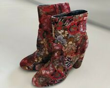 Red velour heeled boots Vintage style Paisley size 4 60s 70s boho festival ankle