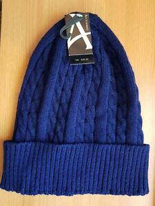 MEN'S NAVY RIBBED CABLE KNIT SLOUCH BEANIE  WINTER SKI HAT CAP OUTDOORS