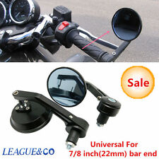 "PAIR MOTORCYCLE ALUMINUM BLACK ROUND CNC REAR VIEW HANDLE BAR END 7/8"" MIRRORS"