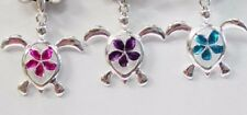 """Turtle with Plumeria Flower Silver Plated Necklace 16""""+  Beach/Nautical. New!"""