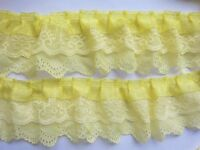 5y 3-layer Pleated Organza Lace Edge Trim Gathered Mesh Chiffon Ribbon-Yellow