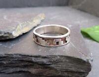 Schöner 925 Sterling Silber Ring Bandring Muster Unisex Damen Herren Elegant Top