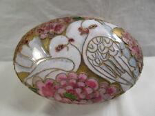 Cloisonne Egg Shape Trinket Jar With Turtle Doves