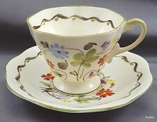 EB Foley China V2571 Tea Cup and Saucer Cream Bone China Floral ca 1930 England