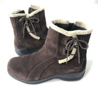 Clarks Bendable Fur Snow Boots 35611 Suede Leather Insulated Women's Size 7w