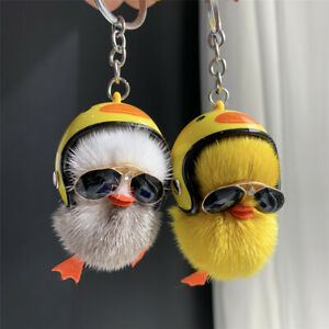Cute Yellow Duck Real Mink Fur Keychain Women Bag Pendant Car Key Ring Chick Toy