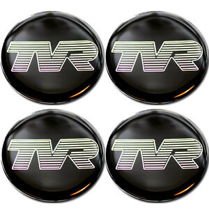 TVR Pearl Logo Blk B/G Self Adhesive Set of 4 Gel Wheel Centres Choice of Sizes