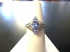 BLUE Tanzanite REAL Diamond Ring marked JS 925