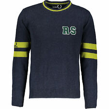 FRED PERRY X RAF SIMONS NAVY KNITTED ROUND NECK SWEATER L UK42 IT52 RRP £225