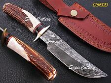 """10"""" Handmade Damascus steel Knife with Stag horn Handle and brass bolster ORDER"""