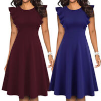 Elegant Womens Ruffle Office Wear Dress A Line Swing Casual Cocktail Party Dress