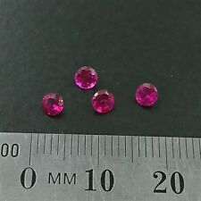 LOOSE RUBY GEMSTONES x4 - 3.5mm Round cut created Rubies light red- Free Post