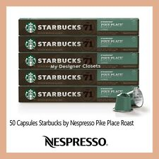 New 50 Capsules Starbucks by Nespresso Pike Place Roast Coffee Pods Pack