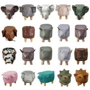 Animal Footstools Upholstered Ottoman Cushion Padded Seat Rest Stool Pouffe Gift