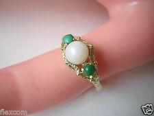 Or 585/14 KT GG Bague avec véritable perle et Verts Pierres T 57/2,8 G