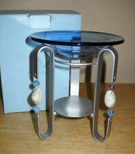 PartyLite Beachwalk Aroma Melts Warmer P8168 Tealight Candle Blue Glass Holder