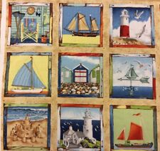 Makower - Coast Labels Panel - Seaside - 100% Cotton Fabric #191