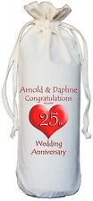 PERSONALISED 25th WEDDING ANNIVERSARY BOTTLE BAG silver