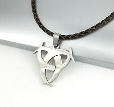 Silver Biohazard Poison Pendant 3mm Brown Braided Leather Surfer Choker Necklace