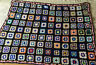 """Vintage Granny Square Afghan Blanket Throw Black & Brites   50"""" x 72"""""""