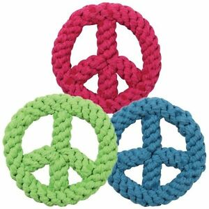 Dog Toy Peace Sign Robe Chew Puppy Play Bright Colors Retro 6.5""