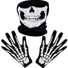 White Skeleton Gloves and Skull Face Mask Ghost Bones for Adult Halloween Dance
