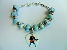 Handmade George Michael  FAITH Guitar Pick Silver Plated Bracelet  and Beads
