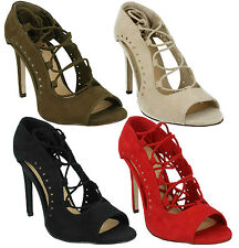 LADIES SPOT ON F10548 LACE UP SLIM HIGH HEEL EVENING PARTY SANDALS COURT SHOES