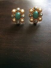 Vintage Signed Monet Gold Tone Faux Pearl Faux Turquoise Flower Clip On Earrings