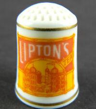 Franklin Mint Thimble Advertising FP Fine Porcelain 1980 Lipton Tea (w4-4)