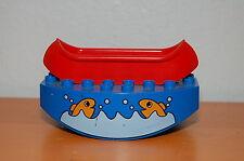 Lego Duplo See-Saw Playground Brick Base Fish Animal Pattern w/ Red Canoe