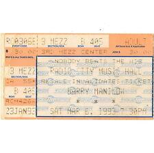 BARRY MANILOW Concert Ticket Stub NEW YORK NYC 3/6/93 RADIO CITY MUSIC HALL Rare