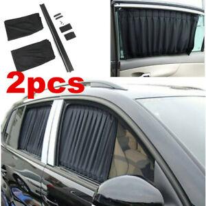 Pair Black Car Window Sun Shade Sun Visor Baby Curtain Side Sun Block Universal