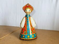 vintage tin russian soviet toy - wind up DANCING DOLL - in work condition - 80's