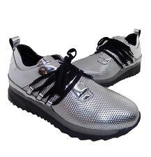scarpa donna laura bellariva pelle argento numero 37 lacci stringhe SNEAKERS