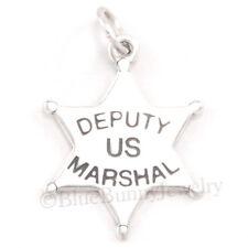 US MARSHAL STAR BADGE Cowboy Western Law Charm Pendant 925 STERLING SILVER