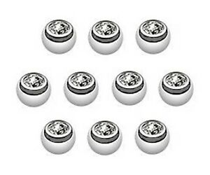 Pack 10 Spare Gem Balls - for Belly and Tongue Bars - Choose: 3mm 4mm 5mm 6mm