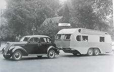 """12 By 18"""" Black & White Picture Ford - 1937 - 1937 Ford pulling a house trailer"""