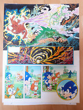 Pagina Original a color de Sonic de Sega,dibujado por Jose Casanovas