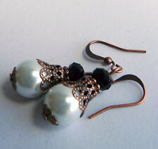 Victorian Vintage Style Antique Copper White Pearl Jet Black Crystal Earrings