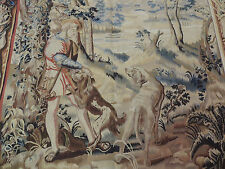 5x7 French Tapestry Oriental Area Rug Wall Hanging Hunting scene/dogs Aubusson