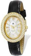 Ladies Charles Hubert IP-plated Stainless Leather Band 29x34mm Watch