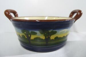 VINTAGE POTTERY TORQUAY WARE MAJOLICA HAND PAINTED BOWL WITH HANDLES