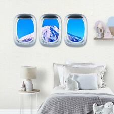 3D Arte Pegatinas De Pared Nube Cielo ventana de vista escénica de avión Pared Calcomanía Decoración para el hogar