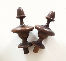 2 Antique French wood post finial end Furniture Restoration Project 4.57