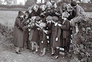 New Nostalgia Series Postcard WW2 Evacuees Nature Lesson Caersws Wales 1939 32J