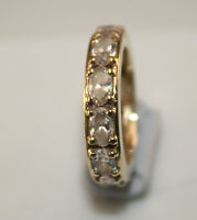 100%  Genuine Vintage 14k Solid Gold Eternity Ring with 12 large oval cut stones