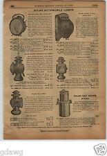 1913 PAPER AD 6 PG Solar Brand Car Auto Gas Lamp Headlight Tail Light Vesta Ford