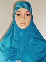 Girl Muslimah Pretty Beaded Button Hijab Head Cover Shawl Wear Wrap Chemo Caps