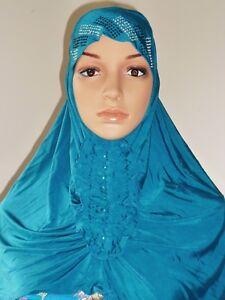 Girl Muslimah Pretty Beaded Button Hijab Head Cover Shawl Wear Wrap Chemo Caps